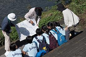 「水質調べ」班。ハザードマップを見ながら鶴見川について学びます